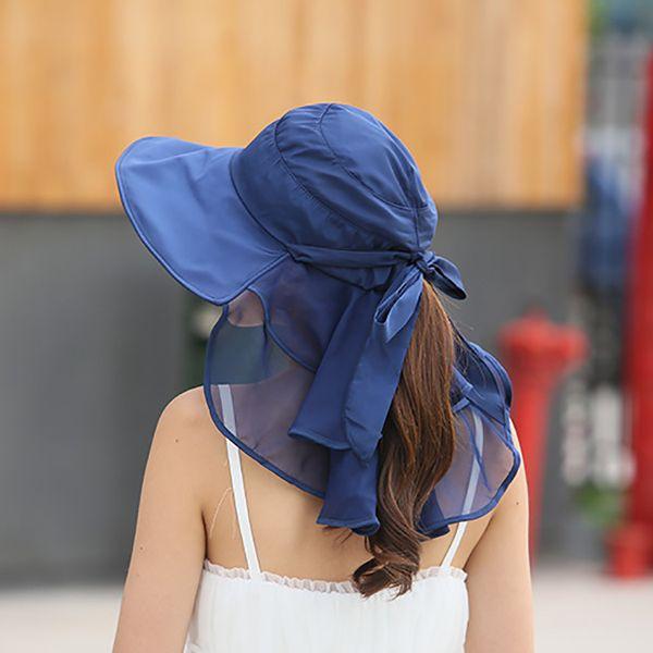 Wide Brim Sun Hats With Face Neck Protection For Women Sombreros Mujer Verano Beach Hats Summer Visor Caps Anti -Uv Chapeu Feminino Outdoor
