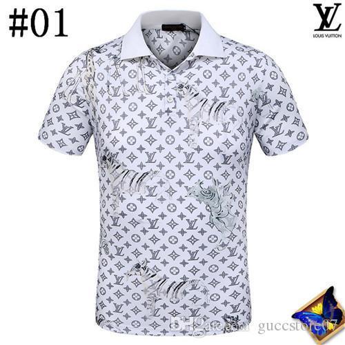 0d97ec7b25 2018 dos homens de negócios Listrado T-shirt 2018 Nova Moda Lapela POLO  Camisa Designer de Marca de Luxo Animal Bordado Impressão Casual T Shirt