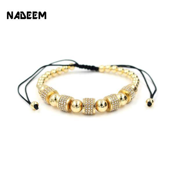 whole saleNADEEM Hot Sale Gold-Color Full Crystal Charm Anil Arjandas Fashion Bracelet Pave Setting Czech Bead Weave Men Macrame Bracelet