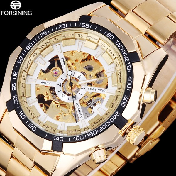 FORSINING Luxury Men's Skeleton Mechanical Casual Watch Men Automatic Sports Watches Stainless Steel Strap Creative Clock