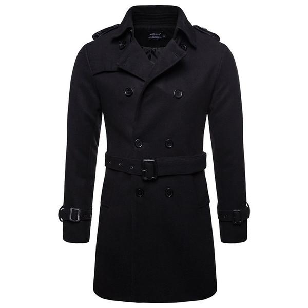 AOWOFS Inverno Uomo Lana Pea Cappotti Uomo nero Cappotto corto Trench Cappotto Maschio Cappotto doppio petto Pea Cappotto di lana di alta qualità