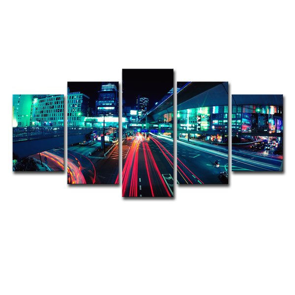 Canvas Paintings Wall Art HD Prints Frame Home Decor Living Room 5 Pieces Tokyo Roadway Poster City Lights Night Pictures