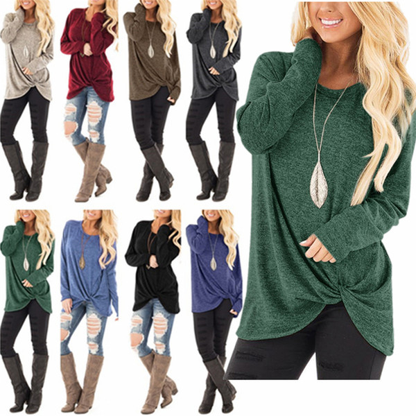 2018 Winter Fashion Women Pullover Purple Lavender 12 Colors Sweatshirts Knot Design Long Sleeves Cotton Tshirt
