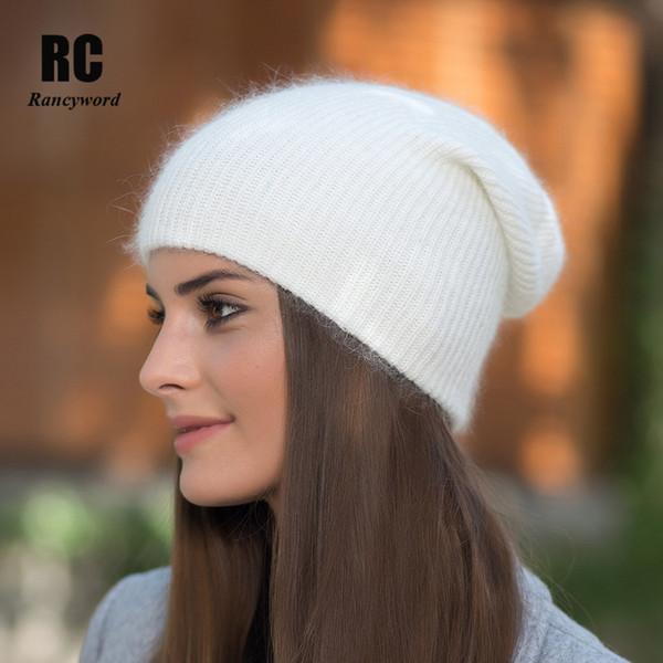 [Rancword] Hohe Qualität Winter Hüte Für Frauen Kaschmir Mützen Ladise Gestrickte Wolle Skullies Cap Angora Pompom Gorros RC1226
