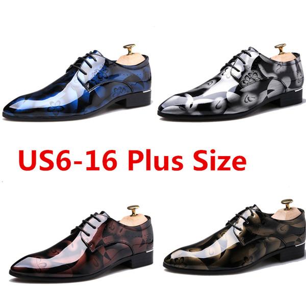 Hot Sale Men Bright Wedding Party Dress Shoe Flat Shoes Luxury Business Oxfords Casual Shoe Pattern Leather Derby Shoes Plus Size US6-16