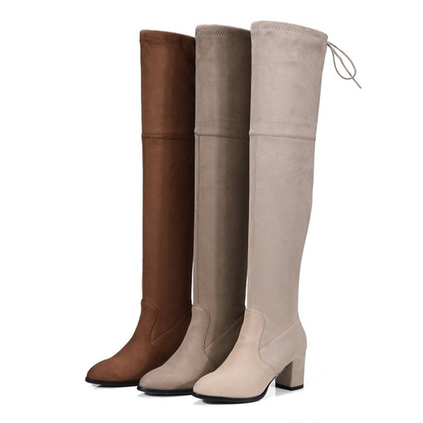 Fashion Womens Ladies Square Heel Pull On Over The Knee Boots Shoes Thigh-High Boots B818 Size Customized