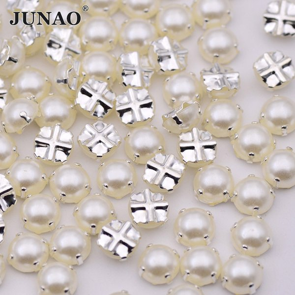 JUNAO 100pcs 6 7 8mm White Pearl Beads Sewing Silver Claw Rhinestones Applique Flatback Sew On Crystals Stones for Clothes Jewelry