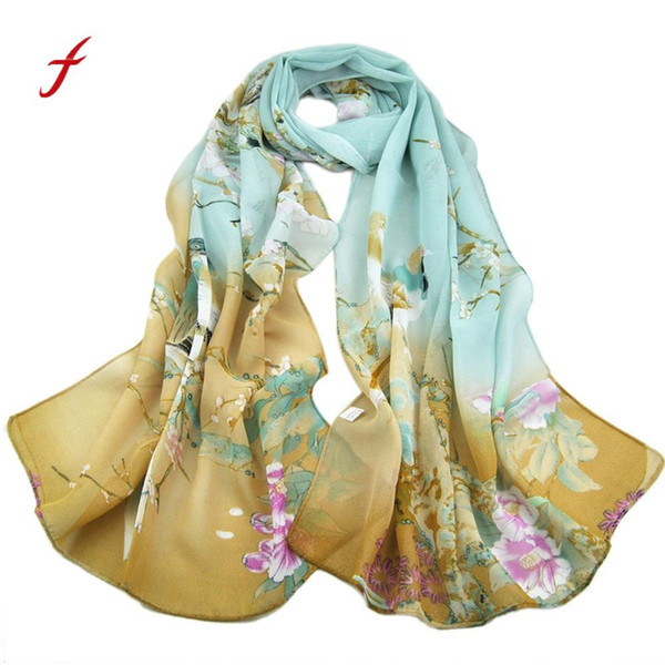 FEITONG Fashion Scarves For Women Long Leopard Shade Shawl Scarf Wrap Chiffon Scarve Casual Magpie Primrose Printing scarves