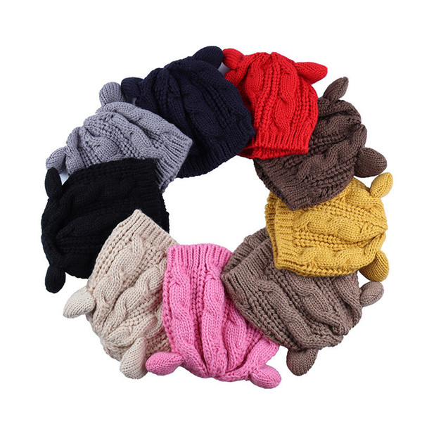 Winter Beanie Devil Horns Skull Caps Cat Ear Crochet Braided Hats Fashion Crochet Caps Outdoor Knit Ski Caps Warm Twist Hat Accessories B11