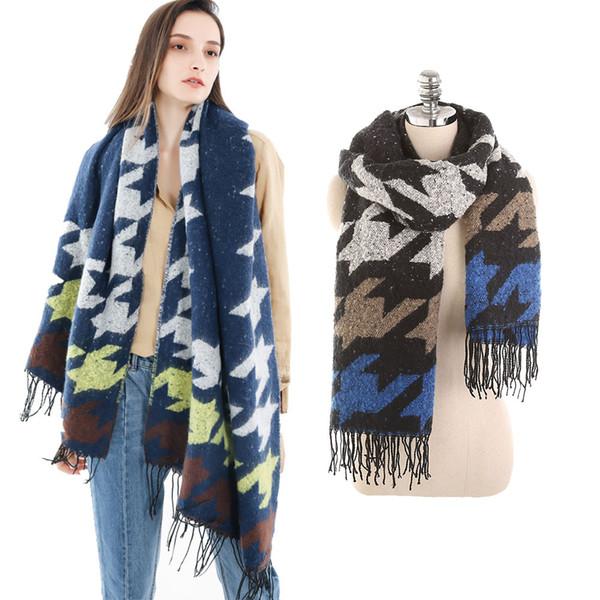 2018 Thick Winter Scarf for Women Large Plaid Shawls and Wraps Tassel Ladies Pashimina Vintage Muffler Warm Blanket Scarf