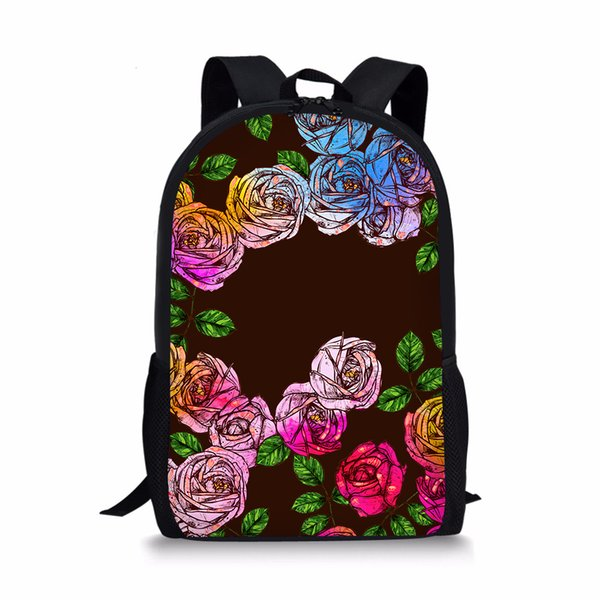 Rainbow Rose Children School Bags Primary Students Girls Kids Back Pack For Books Casual Floral Printed School Bagpack