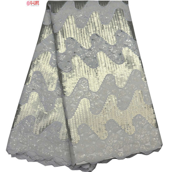 2018 Double Organza lace fabrics High quality White Sequins Embroidered Organza Fabric Eco-Friendly For Sewing African Clothes F4-860