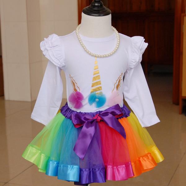유니콘 Romper과 투투 스커트 생일 소녀를위한 설정 유니콘 파티 호의 부티크 아기 소녀 의류 판매 Unicornio Onesie 파티 용품