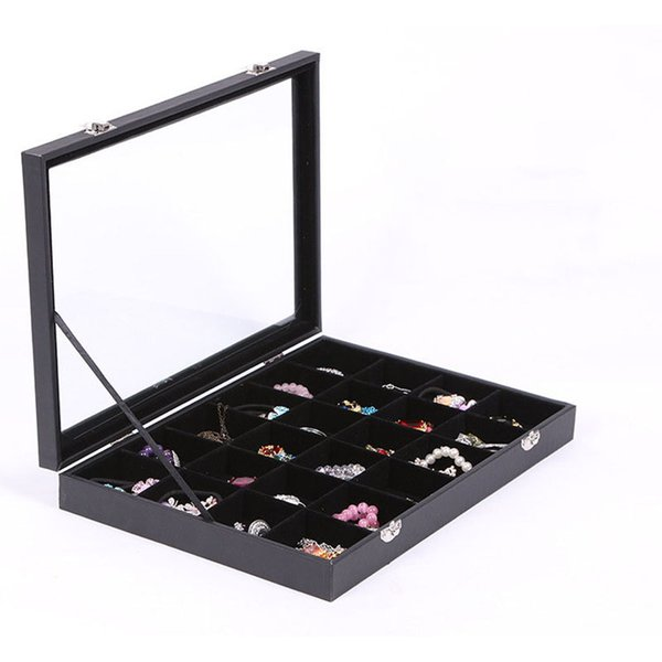 New Black Jewelry Storage Box Ring Earring Case Bracelet Necklace Pendants Display Box Makeup Tool Jewelry Accessories Organizer