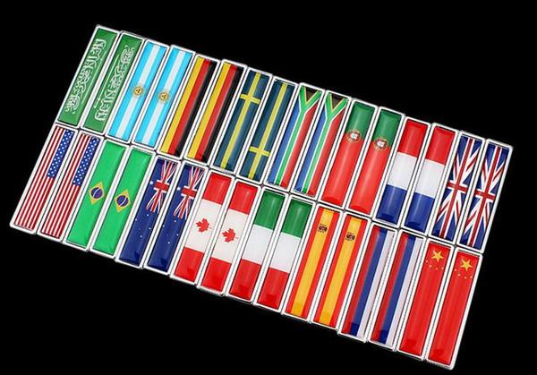 Italie Afrique du Sud Arabie Saoudite australien Russe USA drapeau Car Styling côtés autocollant New Pair Metal Label 3D autocollants de voiture Auto Metal Emblem