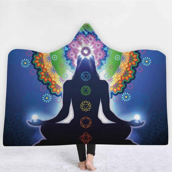 Lannidaa Purple Mandala Chakra Одеяло Зимний теплый толстый слон с капюшоном Одеяла Йога с напечатанным флисом Упакованный бросок на диване Кровати