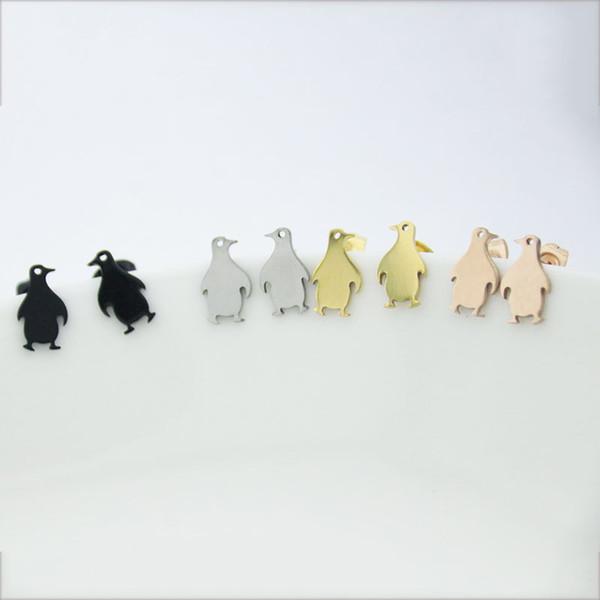 Горячий Продавать Детские Пингвин Серьги Золото Розовое Золото Черный Нержавеющая Сталь Шпильки Женщины Дети Девушки Мода Ювелирные Изделия Подарок T133