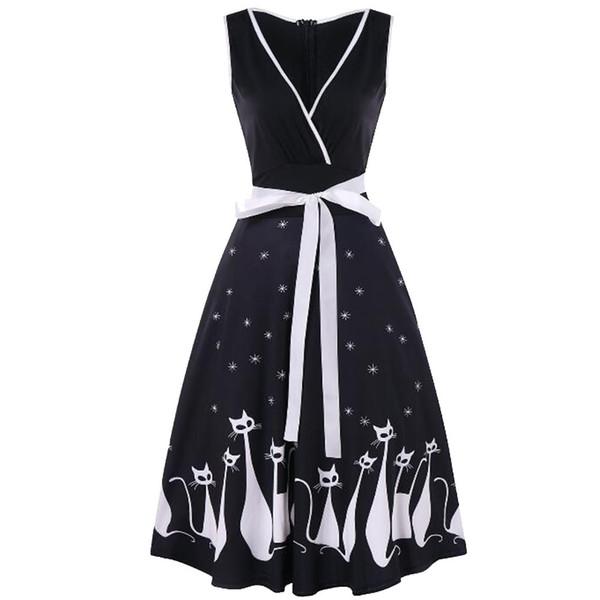 Female Beach Dress evening party 2018 Summer Large Size knee length Women Sleeveless V-neck Retro Cat Print Sundress vestidos