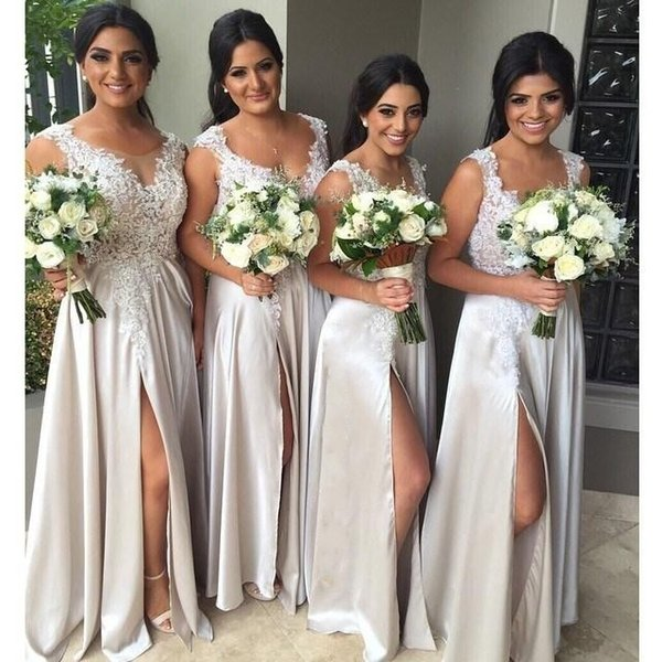 Lace Straps Long Maid Of Honor Party Dress Sleeveless Sheer Neck With Appliques Split Front Floor Length Silver Grey Bridesmaid Dresses
