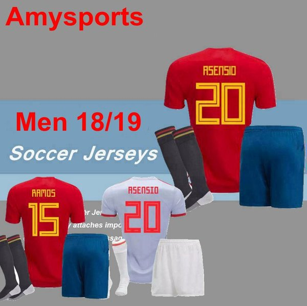 2018 Spain Shirt+Short+Socks Soccer Sets 2017 Men kits set Custom MORATA ISCO ASENSIO A.INIESTA 17/18 España soccer jersey Football shirts