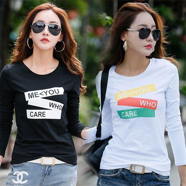 New 2018 T Shirt Women Long Sleeve Cotton T-shirts For Women Fashion Print Female T-shirt Casual Winter Tops Tees