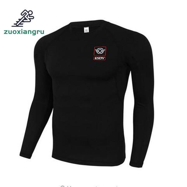 Camiseta deportiva para hombre Camiseta al aire libre Marca Slim Fit Camisetas de manga larga tácticas Entrenamiento Senderismo Campamento EE. UU. Camiseta azul marino