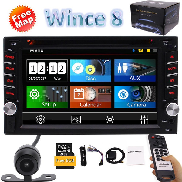 """6.2"""" Double 2DIN In Dash Car stereo CD DVD Player USB Bluetooth FM Radio Map GPS Navi Cam-in 1080P Video Steering+Rearview Camera"""