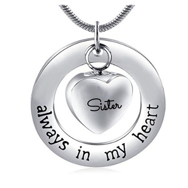 Fashion jewelry necklace with stainless steel can open the ring of the ring heart sister cremate jewelry bottle gray pendant necklace.