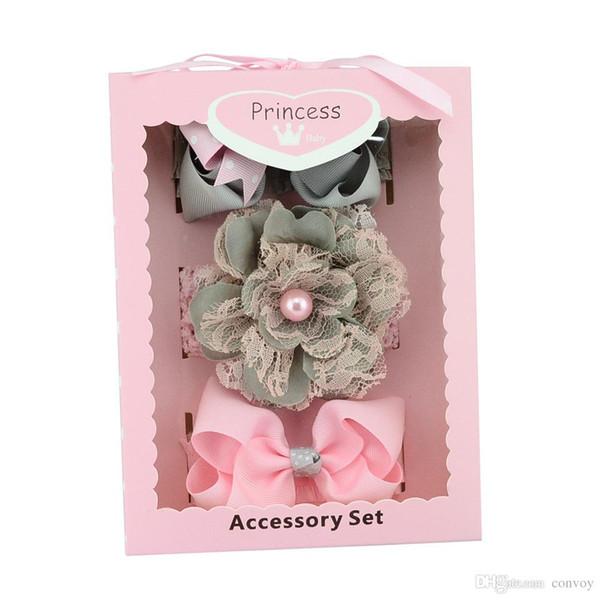 Baby Headbands Bow Hair Clips Box Baby Girls Dot Grosgrain Ribbon Bowknot Headbands Boutique Children Hair Accessories Birthday Gift KHA240