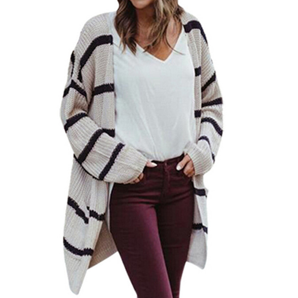 d48216b5a1 2018 Autumn Fashion Striped Sweater Long Cardigans For Women Elegant Knitted  Sweaters Outfit Jackets