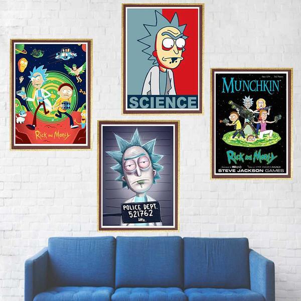 Rick und Morty Poster gestrichenes Papier Wand Poster Home Dekoration Wandaufkleber