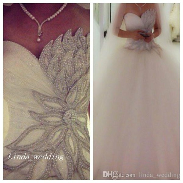New Pnina Tornai Wedding Dresses Elegant Sparkly Princess Ball Gown Puffy Tulle Beaded Formal Bridal Party Gowns