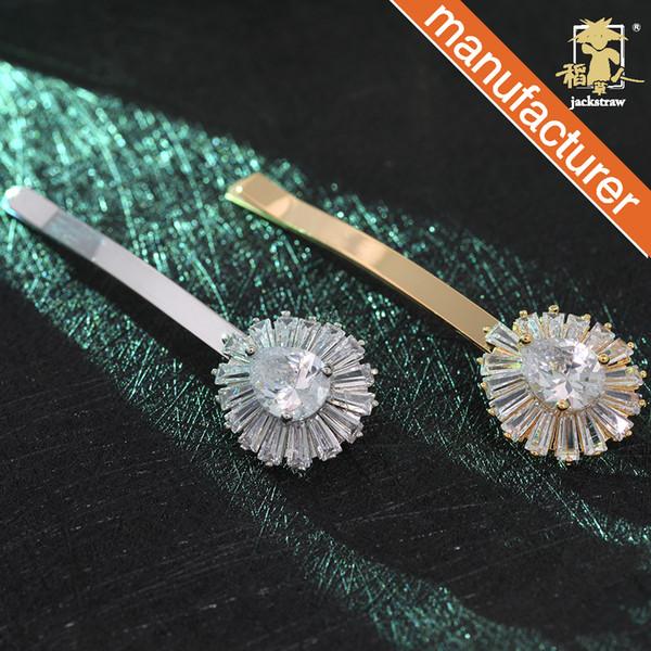 Star with the same temperament fashion hairpin zircon copper micro-inlaid bangs clip word clip hair accessories hair accessories