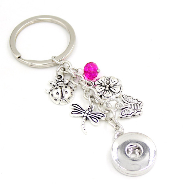 New Arrival DIY Interchangeable 18mm Snap Jewelry Snap Key Chain Ladybug Flower Butterfly Dragonfly Key Chain Bag Charm Snaps Key Ring Gifts