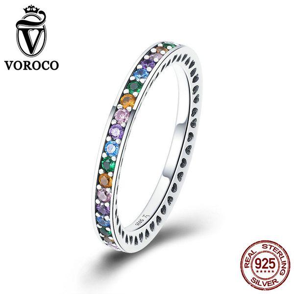 VOROCO Authentic 925 Sterling Silver Colorido Rainbow CZ Anéis Para A Mulher de Luxo Coração Oco Original Jóias Finas Presente BKR392