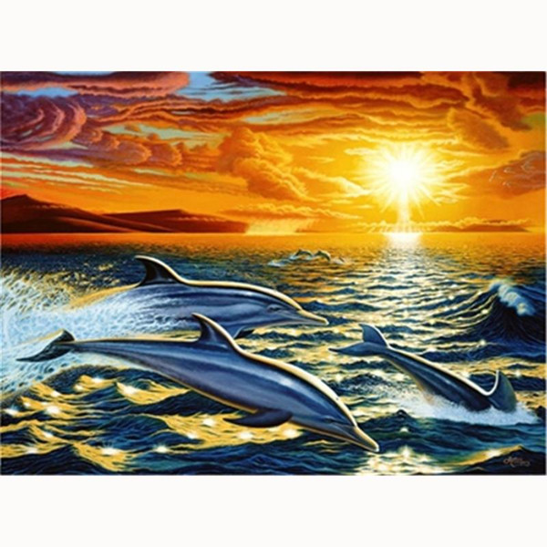 5D Diy diamond painting, diamond embroidery, home decoration, mosaic, rhinestone painting, landscape, sea sunshine, dolphins