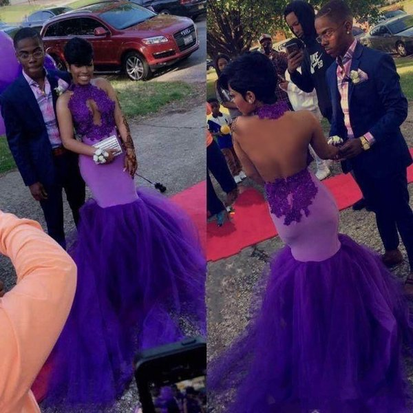 2018 Purple Halter Neck Prom Dresses Sexy Back Applique Lace Long Sexy halter Mermaid open neck Formal Party Evening Dresses Prom Gowns
