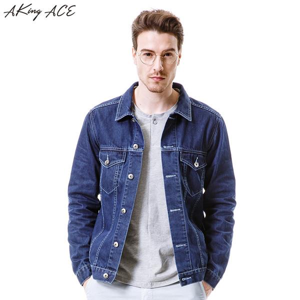 2017 AKing ACE Nueva Llegada Mens Denim Jacket con Bolsillos Masculinos Clásicos Jeans Chaquetas Hombre Azul Oscuro Chaqueta Retro, ZA285