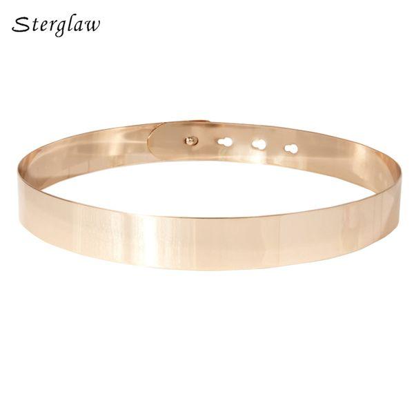 Women Punk Full Metal Mirror skinny Waist Belt 2018 Metallic Gold Plate Wide Lady ceinture sashes for dresses J002