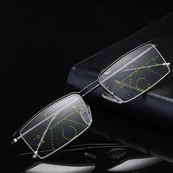 Lunettes de lecture à double usage Smart Zoom Lunettes de lecture à verres progressifs Multi-focus Old Flower Lunettes anti-fatigue Presbyopic
