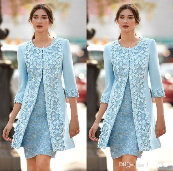 2018 Sky Blue Mutter Off Braut Kleider Jewel 3D Blume Spitze Applique 3/4 Langen Ärmeln Mantel Mit Jacke Kurze Hochzeit Gast Kleider