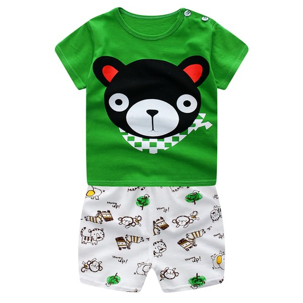 AbaoDo new arrival summer kids clothing set 100% cotton baby home clothes short sleeve Tee shirt pants 2 piece set drop shipping #green bear