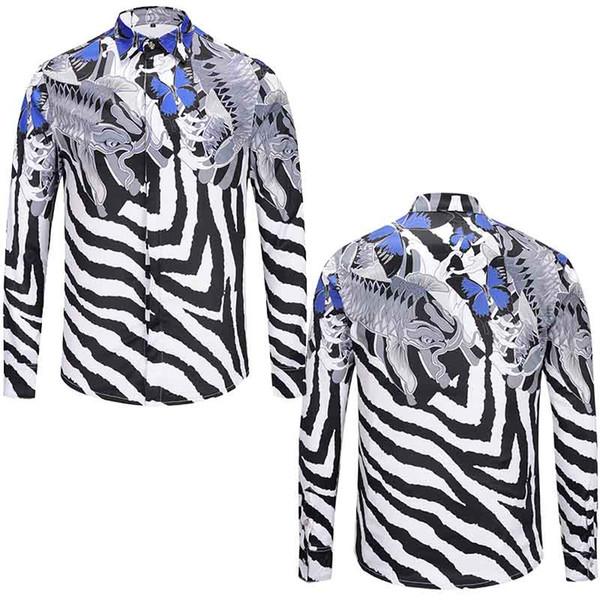 Medusa Shirts Camisetas de seda para hombres Italia Brand White Black Zebra Striped 3D Print Camisa de manga larga Mezcla de color Tops casuales Camiseta