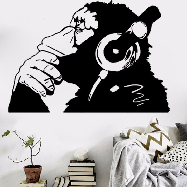 Banksy Wall Decal Vinyl Monkey with Earphones Wall Art Stickers Removable Animal Decorative Sticker Murals for Living Room Bedroom