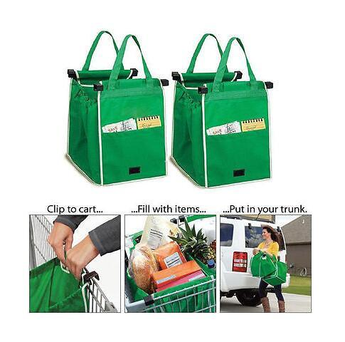 Free Shipping Reusable Large Trolley Clip-To-Cart Grocery Shopping Bags Portable Green Cloth Bag Foldable Tote Handbags