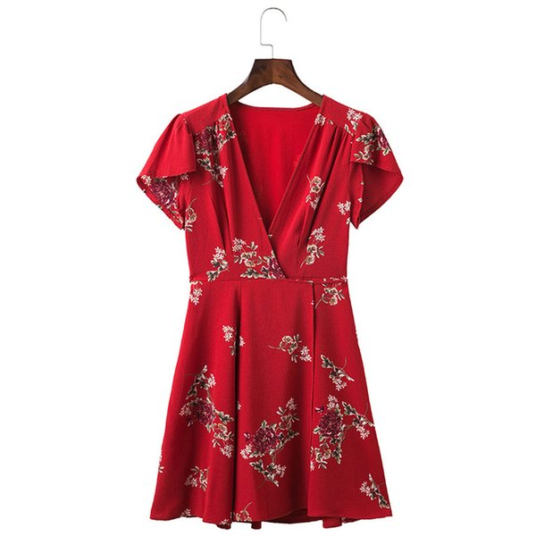 Women Summer Dress 2018 V-Neck Cape Short Sleeve Casual Mini Dress Boho Beach Vinatge Floral Print Dress Sundress