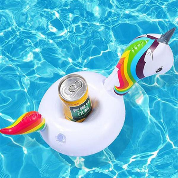 2018 Unicorn Gonfiabile Cup Holder Drink Floating Party Beverage Boat Stand supporto del telefono Pool Giocattoli per feste