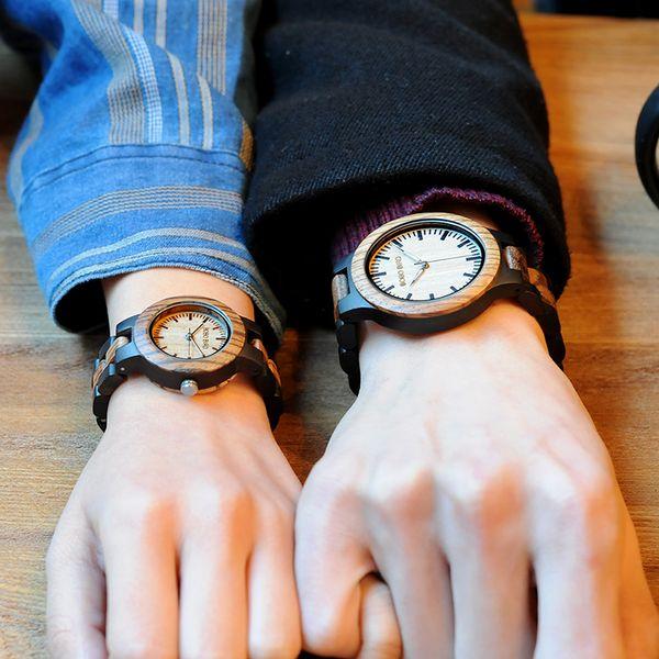 masculino 2017 BOBO BIRD Luxury Style Lovers' Wood Watches Luminous Needles Handmade Wooden Band Wristwatch Wooden relogio masculino