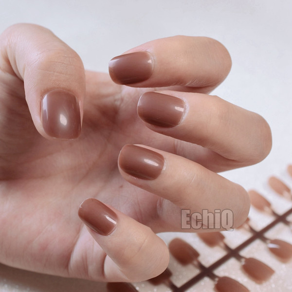 12 Sizes Kit Sweet Children Small Oval False Nails Full Cover Fake Nail UV Gel DIY Nail Tips Half Transparent Light Brown 367k