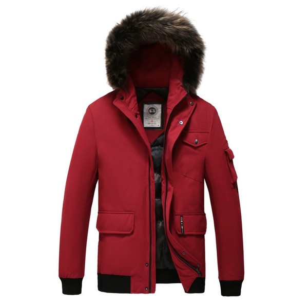 Winter Men's Hooded Down Jacket with Removable Real Fur Thick White Duck Down Jacket Men Clothing Short Casual Loose Zipper Coat